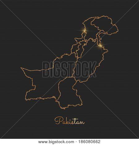 Pakistan Region Map: Golden Glitter Outline With Sparkling Stars On Dark Background. Detailed Map Of