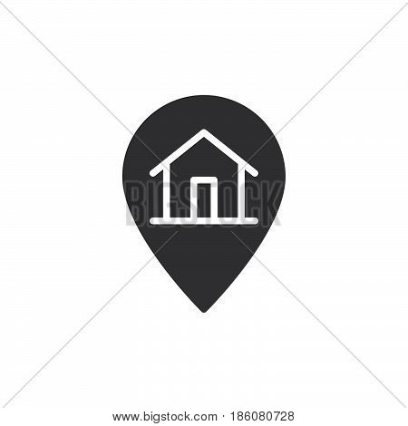 House on map pointer icon vector filled flat sign solid pictogram isolated on white. Order delivered symbol logo illustration. Pixel perfect