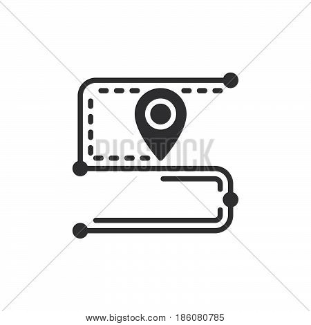 Track order route icon vector filled flat sign solid pictogram isolated on white. Symbol logo illustration. Pixel perfect