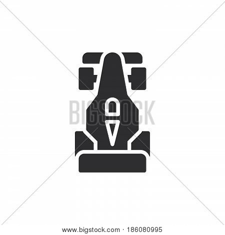 Open wheel racing car icon vector filled flat sign solid pictogram isolated on white. Motorsport symbol logo illustration. Pixel perfect
