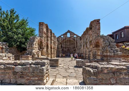 NESSEBAR, BULGARIA - 30 JULY 2014: Ancient Church of Saint Sofia in the town of Nessebar, Burgas Region, Bulgaria