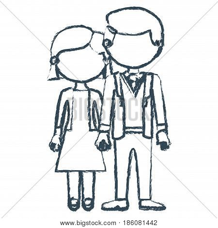 blurred blue contour faceless couple woman with short hair in dress and man in formal suit with taken hands vector illustration