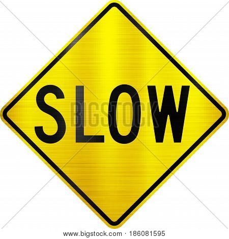 slow sign yellow alert design safety metal