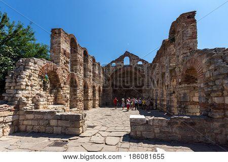 NESSEBAR, BULGARIA - 30 JULY 2014: Ancient Church of Saint Sofia in the town of Nessebar, Burgas Region, Bulgaria