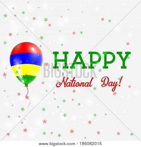 Mauritius National Day Patriotic Poster. Flying Rubber Balloon In Colors Of The Mauritian Flag. Maur