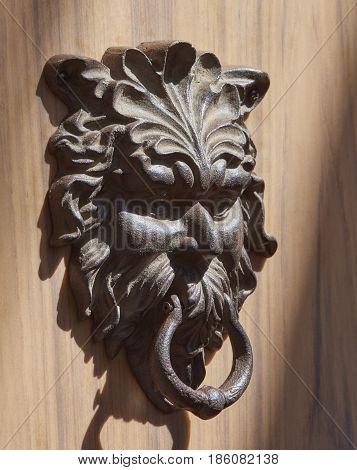 antique door knocker at Selby Botanical Gardens