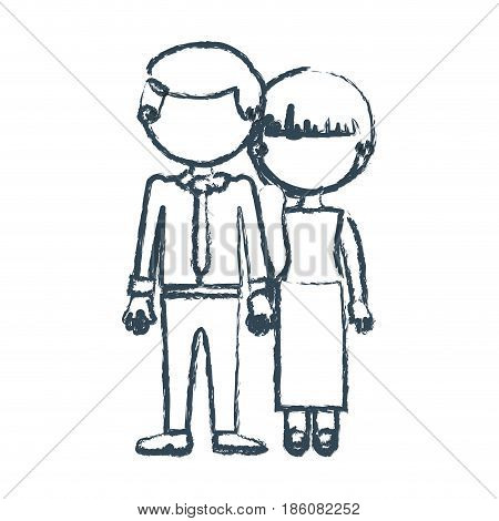 blurred blue contour faceless couple woman with side ponytail hair and man with necktie and taken hands