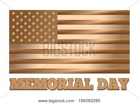Memorial Day design. Gold United States of America flag. Golden United States USA flag and greeting inscription isolated on white background. Gold label - Memorial Day. Vector illustration