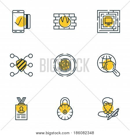 Vector Illustration Of 9 Data Protection Icons. Editable Pack Of Copyright, Finger Identifier, Network Protection And Other Elements.