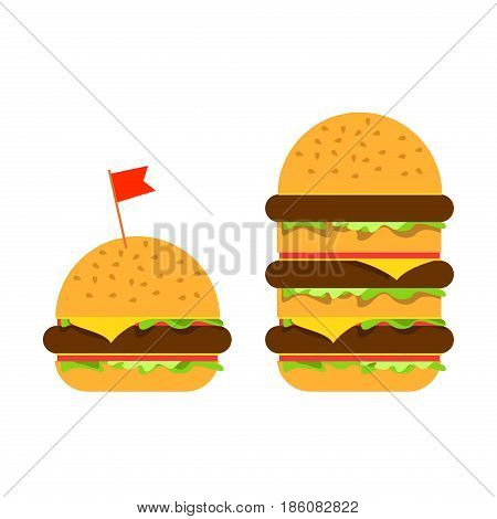 Small burger and big beefburger with vegetables and meat.