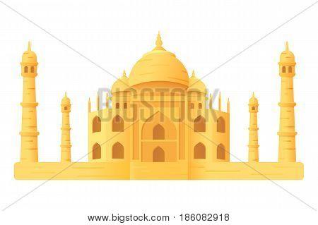 Taj Mahal temple illustration icon isloated cartoon