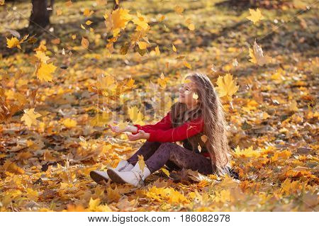 the happy girl with autumn leaves in park