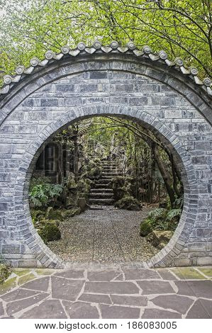 Passage way inside the People's Park in Chengdu sichuan province China