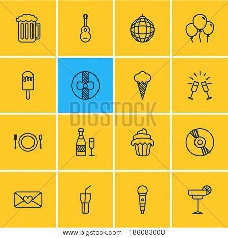 Vector Illustration Of 16 Feast Icons. Editable Pack Of Soft Drink, Nightclub Ball, Goblet And Other Elements.