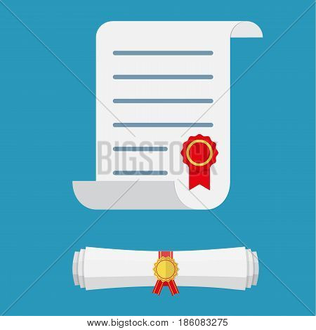 White unrolled and rolled paper diploma scroll with yellow stamp and red ribbons. Graduation concept. business certificate. vector illustration in flat style