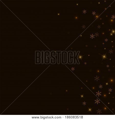 Sparse Starry Snow. Scatter Right Gradient On Black Background. Vector Illustration.