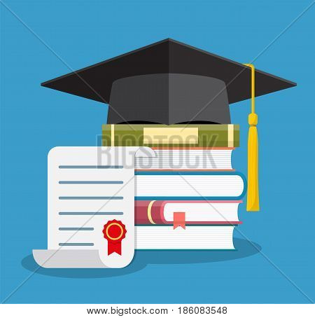 Graduation cap on books stacked, mortar board with pile of books and and diploma, symbol of education, learning, knowledge, intelligence, vector illustration in flat style