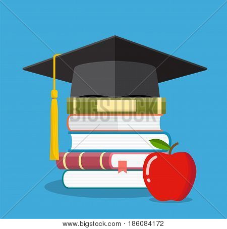 Graduation cap on books stacked, mortar board with pile of books and apple, symbol of education, learning, knowledge, intelligence, vector illustration in flat style