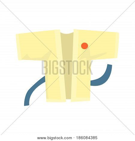 Kimono with a blue belt, martial arts clothing. Colorful cartoon vector Illustration isolated on a white background