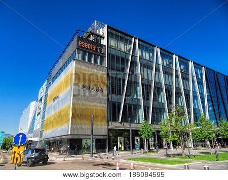 ALMATY KAZAKHSTAN - MAY 12 2017: Shopping Center Esentai Mall. It is one of buildings of the complex Business Centre of Esentai Tower in Almaty Kazakhstan