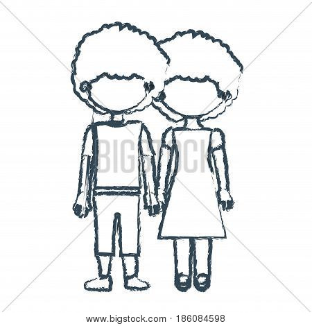 blurred blue contour faceless curly couple girl with dress and boy in casual clothing and taken hands vector illustration