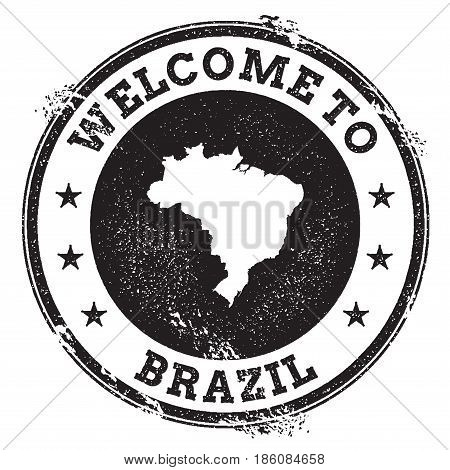 Vintage Passport Welcome Stamp With Brazil Map. Grunge Rubber Stamp With Welcome To Brazil Text, Vec