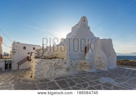 White orthodox church in Mykonos, Cyclades Islands, Greece