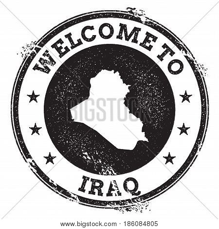 Vintage Passport Welcome Stamp With Iraq Map. Grunge Rubber Stamp With Welcome To Iraq Text, Vector