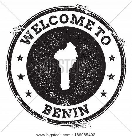 Vintage Passport Welcome Stamp With Benin Map. Grunge Rubber Stamp With Welcome To Benin Text, Vecto
