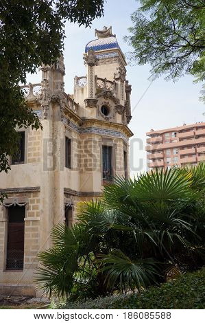 a historic building among plants in spain