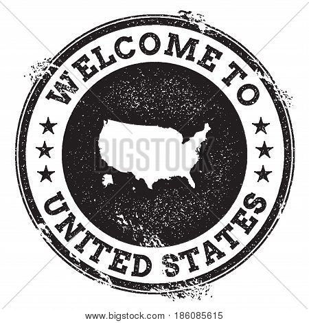 Vintage Passport Welcome Stamp With United States Map. Grunge Rubber Stamp With Welcome To United St