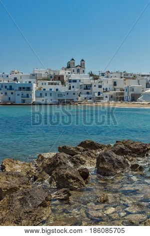 Amazing panorama to town of Naoussa, Paros island, Cyclades, Greece