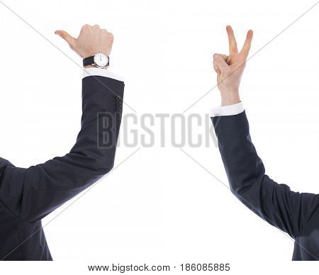 Collage, male hands show a sign of victory and like, isolated on white background