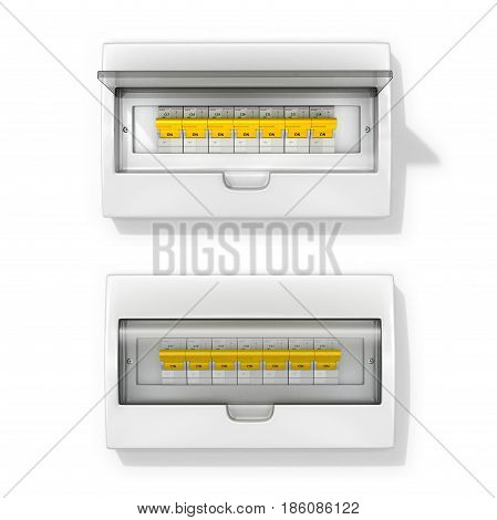 Board with circuit breakers. On a white background. 3d illustration.
