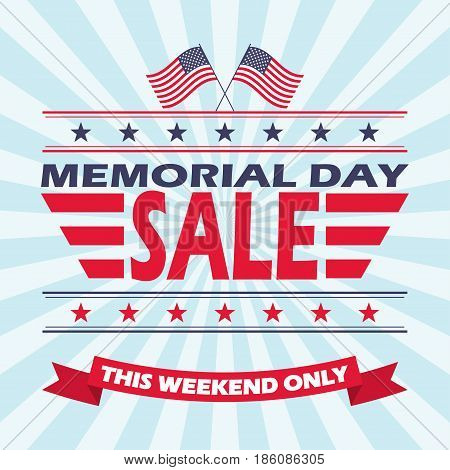 Memorial Day Sale banner design. Vector background for Memorial Day Sale.