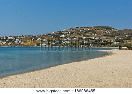 Amazing panorama of beach in town of Naoussa, Paros island, Cyclades, Greece