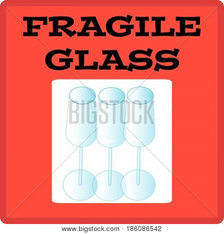 Fragile glass label isolated on white background.