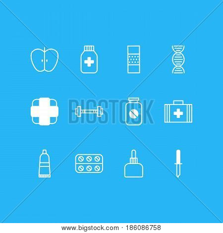 Vector Illustration Of 12 Medicine Icons. Editable Pack Of Medical Bag, Aspirin, Dumbbell And Other Elements.