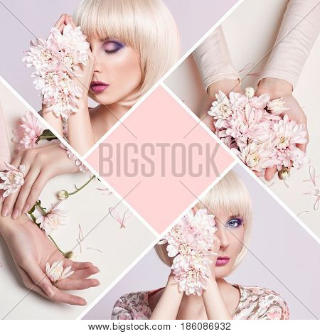 Fashion art portrait woman in summer dress and flowers in her hand with a bright contrasting makeup. Creative beauty photo girls sitting at table on a contrasting pink background. Collage concept