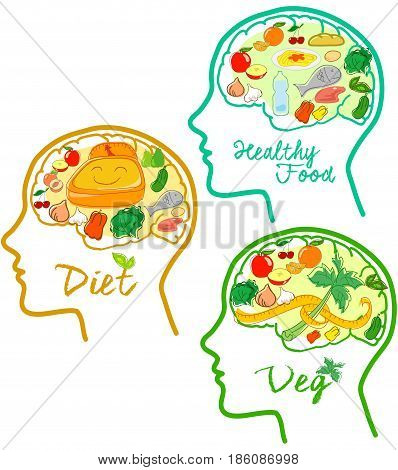 Head profile with visible brain. Food icons about diets.
