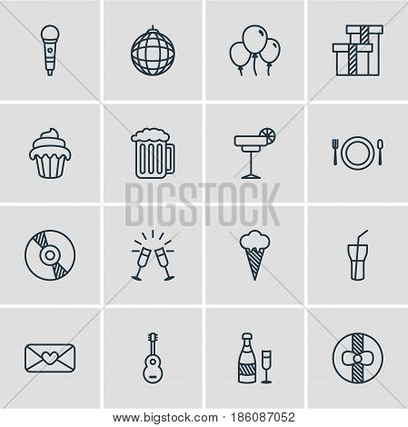 Vector Illustration Of 16 Feast Icons. Editable Pack Of Soft Drink, Ice Cream, Goblet And Other Elements.