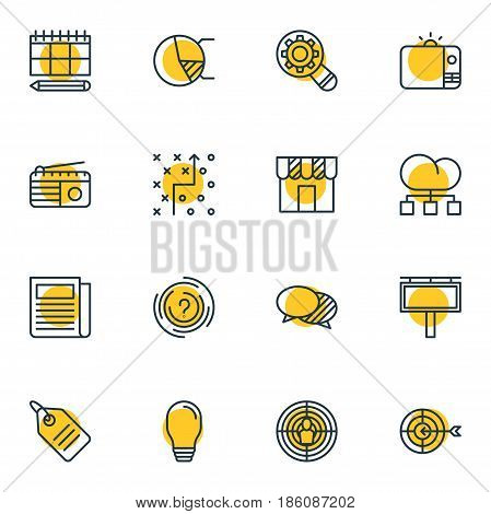 Vector Illustration Of 16 Ad Icons. Editable Pack Of Circle Diagram, Goal, Advertising Billboard And Other Elements.