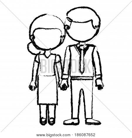 blurred black contour faceless couple woman with skirt and blouse with man in formal style and taken hands vector illustration