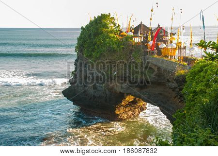 Tanah Lot Water Temple In Bali. Indonesia Nature Landscape.
