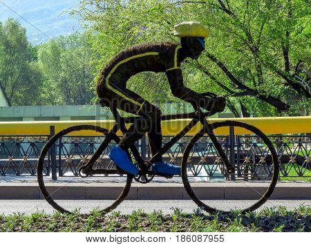 ALMATY KAZAKHSTAN - MAY 12 2017: Instagram of Bicycle at the Al-Farabi street in Almaty Kazakhstan