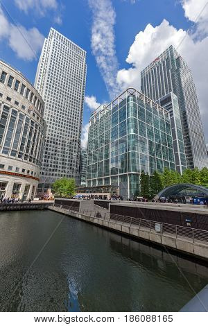 LONDON, ENGLAND - JUNE 17 2016: Business building and skyscraper in Canary Wharf, London, England, Great Britain