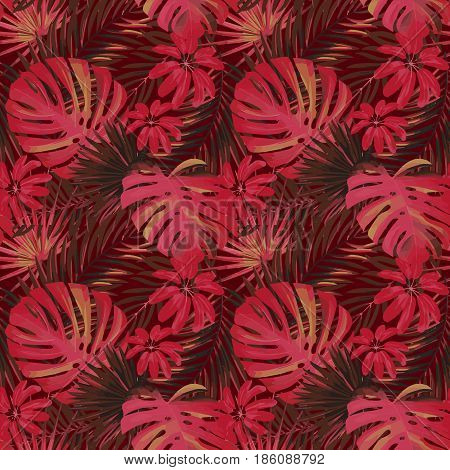 vector seamless beautiful artistic bright tropical pattern with exotic frond. Colorful original stylish floral background print, vimous colors on dark red