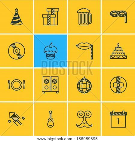 Vector Illustration Of 16 Banquet Icons. Editable Pack Of Musical Instrument, Present, Nightclub Ball And Other Elements.