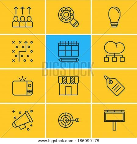 Vector Illustration Of 12 Social Icons. Editable Pack Of Discount Label, Analysis, Shop And Other Elements.
