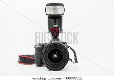 GOMEL BELARUS - May 12 2017: Canon 6d camera with lens on a white background. Canon is the world's largest SLR camera manufacturer